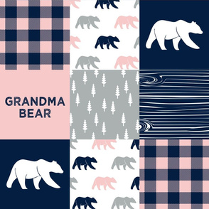 grandma bear - patchwork woodland wholecloth - pink and navy