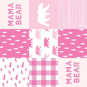 mama bear - patchwork woodland wholecloth - bright pink (90)