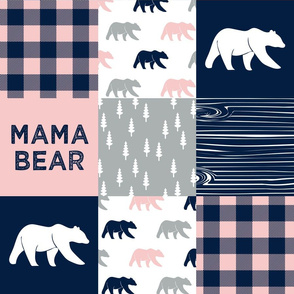 mama bear - patchwork woodland wholecloth - pink and navy