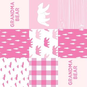 grandma bear - patchwork woodland wholecloth - bright pink (90)