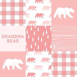 grandma bear - patchwork woodland wholecloth - pink