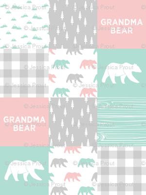 grandma bear - patchwork woodland wholecloth - pink and aqua