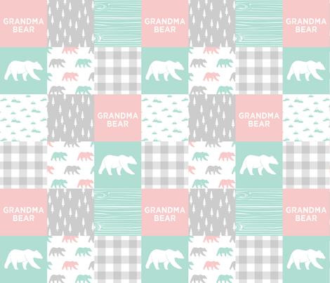 grandma bear - patchwork woodland wholecloth - pink and aqua fabric by littlearrowdesign on Spoonflower - custom fabric
