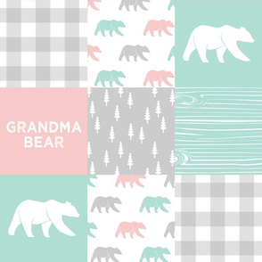 grandma bear - patchwork woodland wholecloth - pink and aqua