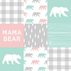 mama bear - patchwork woodland wholecloth - pink and aqua