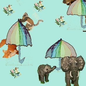 Animals umbrella flowers
