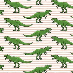 trex - blush stripes - dinosaur