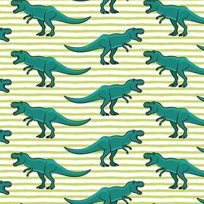 trex - green stripes - dinosaur