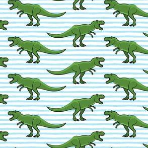 trex - blue stripes - dinosaur  (dark green)