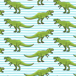 trex - blue stripes - dinosaur