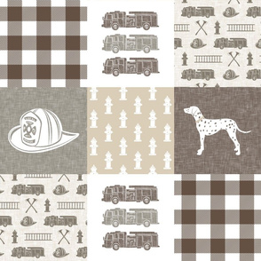 firefighter patchwork fabric - plaid -  brown