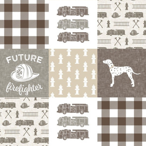 future firefighter patchwork fabric - plaid -  brown
