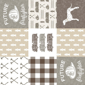 future firefighter patchwork fabric - plaid -  brown (90)