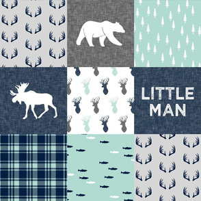 Little Man - Woodland Patchwork - Fishing, Bear, and Moose (navy)