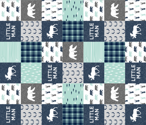 Little Man - Woodland Patchwork - Fishing, Bear, and Moose (navy) (90) fabric by littlearrowdesign on Spoonflower - custom fabric