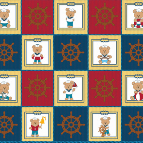 Baby nautical bear cheating quilt.