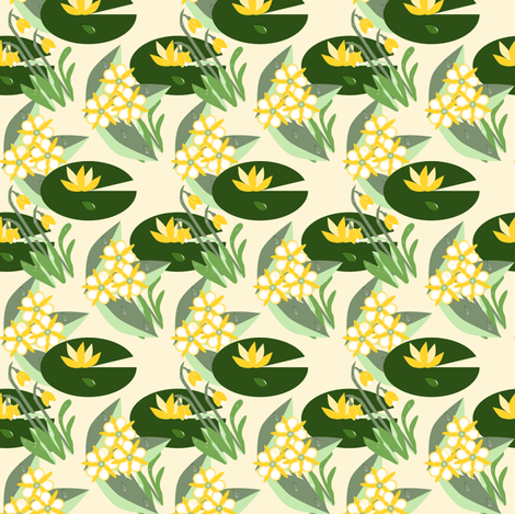 Blossoms in the rain green fabric by anino on Spoonflower - custom fabric