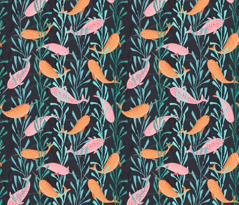 Narwhals playing in the kelp forest fabric by lahna_winter on Spoonflower - custom fabric