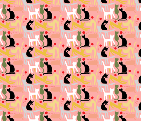 cats on pink backgroun fabric by palusalu on Spoonflower - custom fabric