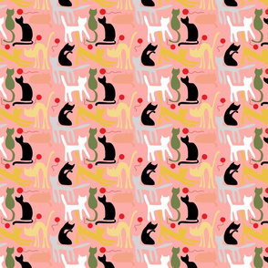 cats on pink backgroun