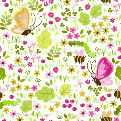 seamless pattern with elements of a meadow
