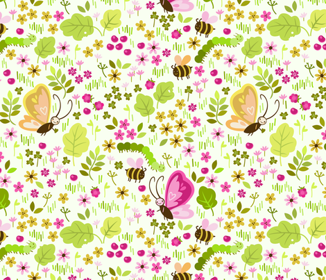 seamless pattern with elements of a meadow fabric by alisblack on Spoonflower - custom fabric