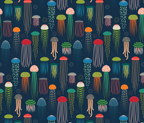 Just Jellies - Jellyfish fabric by katerhees on Spoonflower - custom fabric
