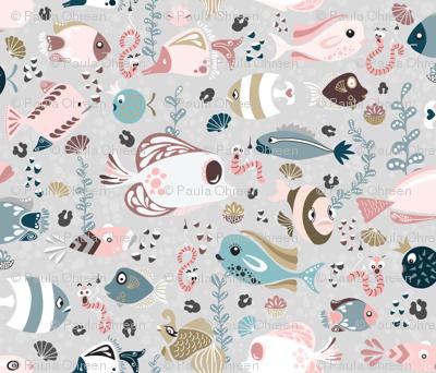 Funny Fish  on Grey