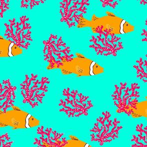 fish clown coral pattern blue