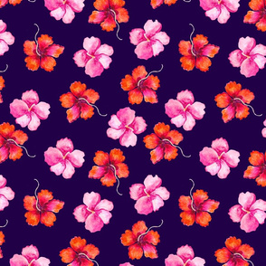 hibiscus pattern template  violet