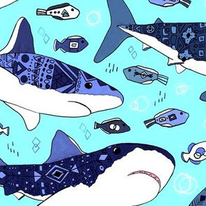 Sharks and Fish on Aqua Blue  - Big