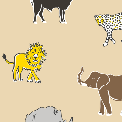 Big Five Wildlife - naturel fabric by revista on Spoonflower - custom fabric
