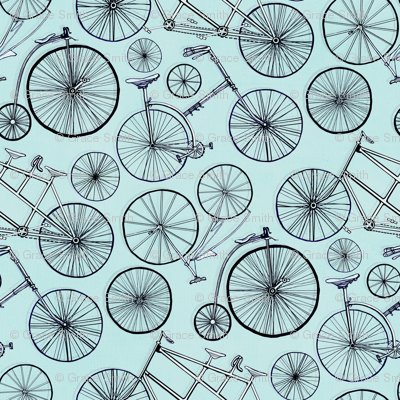 Monochrome Vintage Bicycles On Baby Blue - Small