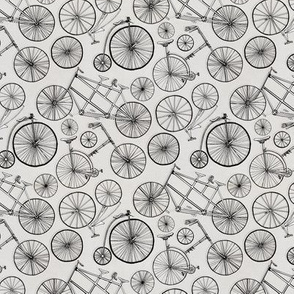 Monochrome Vintage Bicycles On Soft Grey (small)