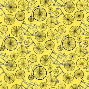 Vintage Bicycles On Bright Yellow - Small