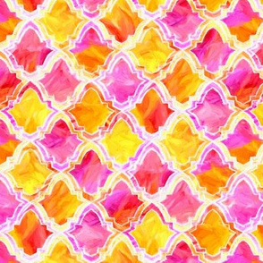 Marrakesh Painted Moroccan In Pink, Orange And Yellow - small