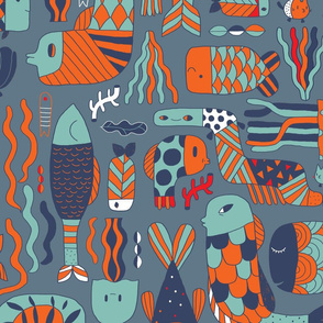 Doodle fish pattern. Orange blue green