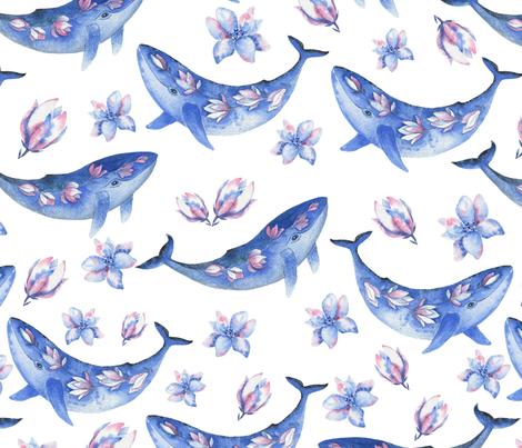 Blue magnolia whale fabric by shafranka on Spoonflower - custom fabric