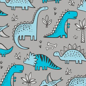 Dinosaurs in Blue on Grey
