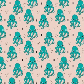 Adorable squid fish octopus geometric ocean theme under water deep sea paradise boys SMALL