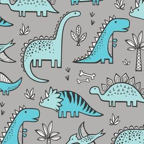 Dinosaurs in Aqua Light Blue on Grey