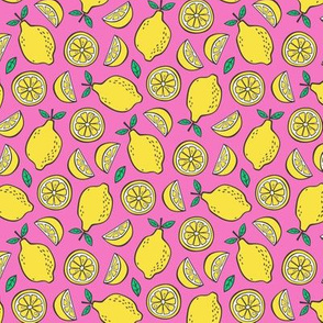 Lemon Citrus on Bright Pink Smaller 1,5 ich