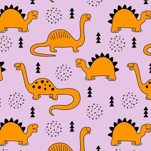 Adorable quirky dino illustration geometric dinosaur animals for kids black and white girls lilac purple orange