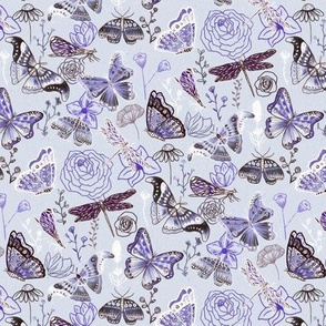 Dragonflies, Butterflies And Moths In Baby Blue,  Purple Amethyst And Grey - Small