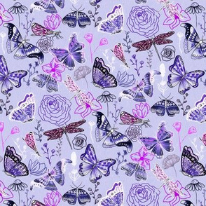Dragonflies, Butterflies And Moths In Lilac, Magenta And Blue - Small