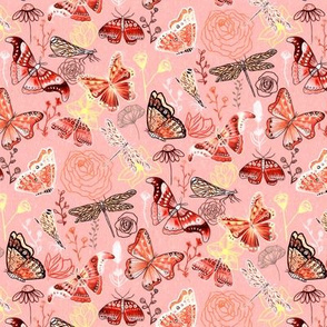 Dragonflies, Butterflies And Moths In Coral, Orange Mustard, Yellow And Red - Small