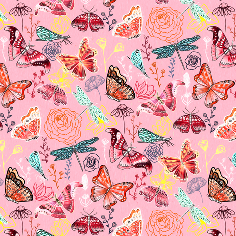 Dragonflies, Butterflies And Moths On Blush With Teal And Coral - Small fabric by tigatiga on Spoonflower - custom fabric
