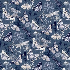 Dragonflies, Butterflies And Moths In White, Navy And Grey Blue - Small