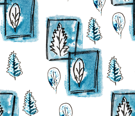 Winter gouache sketch  leaves like stamps in pen frames fabric by _la_corneja on Spoonflower - custom fabric