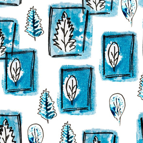 Winter gouache leaves like stamps in pen frames